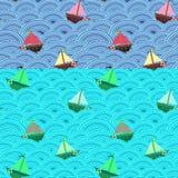 Statki z różnymi kolorami żagle w burzowym morzu niebieski fale wektor bezszwowy wzoru royalty ilustracja