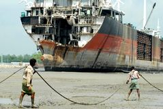 Statku łamanie w Bangladesz Fotografia Stock
