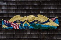 Statku carver znak - Tajemniczy port morski, Connecticut, usa obraz stock