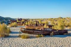 Statku cmentarz, Aral morze, Uzbekistan Zdjęcie Stock