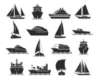 Statku i żołnierz piechoty morskiej sylwetki łódkowaty czarny set ilustracji