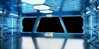 Statku kosmicznego błękitny i biały wnętrza 3D rendering Zdjęcie Royalty Free
