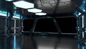 Statku kosmicznego błękitny wnętrze z pustymi okno 3D renderingu elementami Obrazy Royalty Free