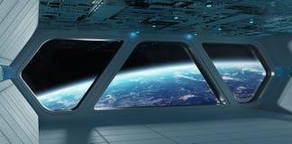 Statku kosmicznego futurystyczny popielaty błękitny wnętrze z widokiem na planecie Eart Zdjęcia Stock