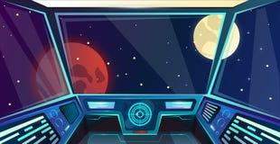 Statku kosmicznego futurystyczny wnętrze kapitanu most w kreskówka stylu Nakazowej poczty Wektorowa ilustracja z radarem, ekran,  royalty ilustracja
