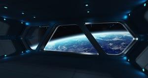 Statku kosmicznego futurystyczny wnętrze z widokiem na planety ziemi Fotografia Stock