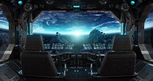 Statku kosmicznego grunge wnętrze z widokiem na planety ziemi Zdjęcia Royalty Free