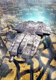 Statku kosmicznego i obcego miasto royalty ilustracja