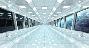 Statku kosmicznego korytarz z widokiem na planety ziemi 3D odpłaca się el Obrazy Stock