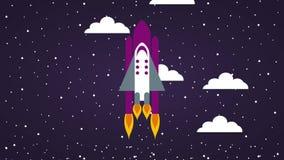 Statku kosmicznego latanie przez gwiaździstego nocnego nieba z chmur ikonami ilustracja wektor
