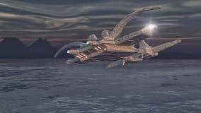 Statku kosmicznego UFO i ocean Obrazy Stock