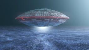 Statku kosmicznego UFO i ocean Fotografia Stock