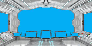 Statku kosmicznego wnętrze z widokiem na błękitnym okno 3D renderingu Obraz Royalty Free