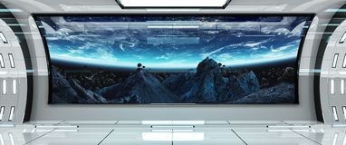 Statku kosmicznego wnętrze z widokiem na Ziemskich 3D renderingu elementach t ilustracja wektor