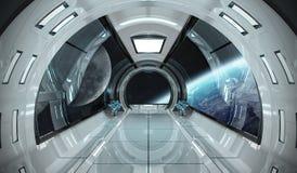 Statku kosmicznego wnętrze z widokiem na Ziemskich 3D renderingu elementach t Obrazy Royalty Free