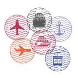Statku, samolotu i cableway podróży kurenda stempluje w kolorowej sylwetce royalty ilustracja