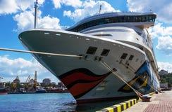 Statku wycieczkowego Aida aura przychodził w port Odessa zdjęcie royalty free