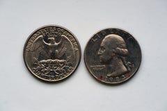 Statlig fjärdedel 25 cent - 1/4 dollar USA fotografering för bildbyråer