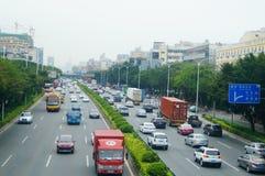 107 statlig väg, Shenzhen, Baoan avsnitt av trafiklandskapet Royaltyfri Bild