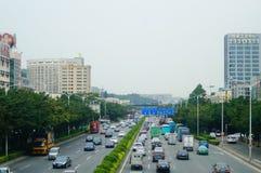 107 statlig väg, Shenzhen, Baoan avsnitt av trafiklandskapet Fotografering för Bildbyråer