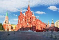 Statligt historiskt museum p? den r?da fyrkanten i Moskva, Ryssland royaltyfri foto
