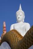 Stato bianco enorme di Buddha su cielo blu Fotografie Stock Libere da Diritti