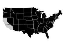 Stato California sulla mappa del territorio di U.S.A. Priorità bassa bianca Illustrazione di vettore illustrazione vettoriale