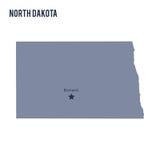 Stato del north dakota della mappa di vettore isolato su fondo bianco illustrazione di stock