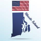 Stato del Rhode Island con ombra con la bandiera d'ondeggiamento di U.S.A. illustrazione di stock