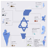 Stato di Dot And Flag Map Of di Israel Infographic Immagini Stock
