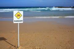 Stato pericoloso della spiaggia Immagine Stock
