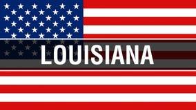 Stato su un fondo della bandiera di U.S.A., della Luisiana rappresentazione 3D Bandiera degli Stati Uniti d'America che ondeggia  illustrazione di stock