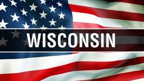Stato su un fondo della bandiera di U.S.A., di Wisconsin rappresentazione 3D Bandiera degli Stati Uniti d'America che ondeggia ne illustrazione vettoriale
