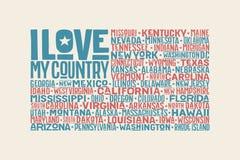 Stato unito della bandiera dell'America con gli stati Fotografia Stock Libera da Diritti