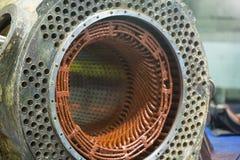 Stator of a big electric motor. Repair Stock Photo