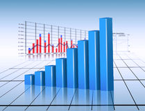 Stats. Diagram stats, blue finance graphic Stock Image