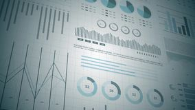 Statistics, financial market data, analysis and reports, numbers and graphs. Stats analysis reports and financial data 3D. Ideal for financial, banking stock video