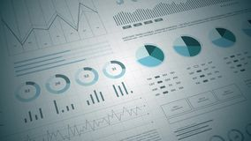 Statistics, financial market data, analysis and reports, numbers and graphs. Stats analysis reports and financial data 3D. Ideal for financial, banking stock footage