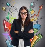 Stats businesswoman Royalty Free Stock Image