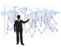 Stats da apresentação da silhueta do homem de negócios Fotografia de Stock