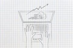 Stats del efectivo y del aumento de beneficios haciendo estallar fuera de la pantalla del ordenador portátil de a libre illustration