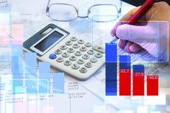 Stats di economia e di finanza e contabilità fotografia stock