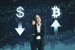 Stats en bitcoin concept stock afbeelding