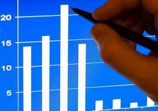 Stats financeiro no portátil lcd Fotografia de Stock Royalty Free