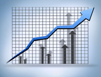 Stats graph. Growth financial stats report,economy Royalty Free Stock Photos