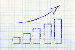 Stats graph showing growth and positive results. Data on graph showing growth and positive business indicator Stock Image