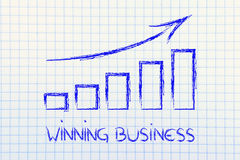 Stats graph showing growth and positive results Stock Image
