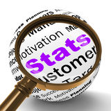 Stats Magnifier Definition Shows Business Reports And Figures Royalty Free Stock Image