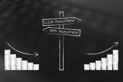 Stats positivo y negativo al lado del camino de la buena y mala inversión libre illustration