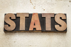 Stats (statistics) word in wood type Stock Photo